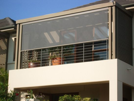 external blinds on home balcony