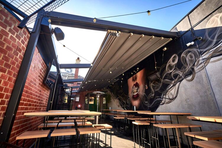 retractable roof system in bar